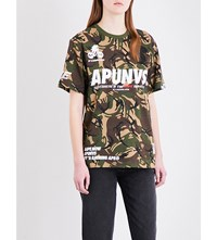 Aape By A Bathing Ape Camouflage Patterned Cotton Jersey T Shirt Grz