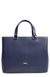 Longchamp 'Medium Honore 404' Leather Tote Blue Navy