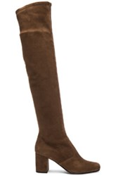 Saint Laurent Stretch Suede Bb Over The Knee Boots In Brown