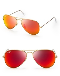 Ray Ban Polarized Mirrored Aviator Sunglasses Matte Gold Polarized Red Orange Mirror