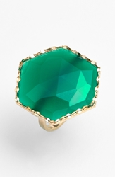 Lana 'Envy' Hexagon Stone Ring Yellow Gold Green Onyx