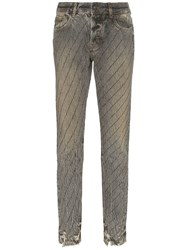 Filles A Papa Crystal Stripe Distressed Jeans Grey