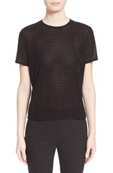 The Kooples Sheer Top With Flocked Check Pattern Black