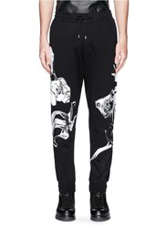 Mcq By Alexander Mcqueen Orchid Print French Terry Sweatpants Black