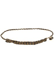 Chanel Vintage Woven Chain Lion Belt Black