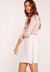 Missguided Lace Up Eyelet Side Mini Skirt White