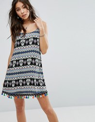 Kiss The Sky Cami Dress With Festival Print And Trim Multi