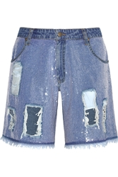 Ashish Sequined Distressed Denim Shorts