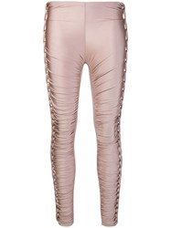 Jean Paul Gaultier Vintage Stretch Plaited Gathered Trousers Pink And Purple