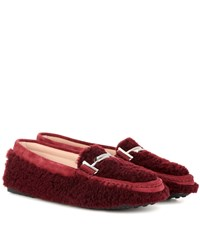 Tod's Double T Shearling Loafers Red