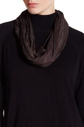 David And Young Faux Suede Perforated Daisy Infinity Scarf Black