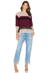 Wilt Blocked Stripe Shifted Sweater Burgundy