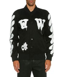 Off White Spray Paint Logo Varsity Jacket Black