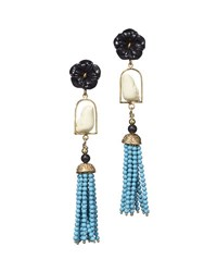 Of Rare Origin Swinger Beaded Tassel Drop Earrings Black Turquoise Multi