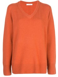 The Row Fine Knit V Neck Sweater Orange