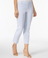 Charter Club Newport Seersucker Tummy Control Cropped Pants Only At Macy's Ultramarine Blue Combo