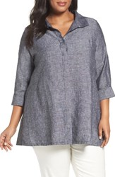 Foxcroft Plus Size Women's Chambray Linen Tunic Shirt