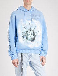 Off White C O Virgil Abloh Statue Of Liberty Print Cotton Jersey Hoody Blue