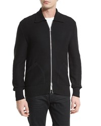 Tom Ford Tuck Stitch Zip Up Wool Jacket Black