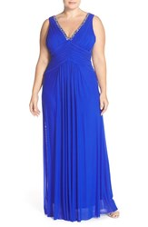 Plus Size Women's Marina Beaded V Neck Pleat Mesh Gown