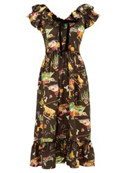 Shrimps Rio Rodeo Print Silk Satin Dress Black Multi