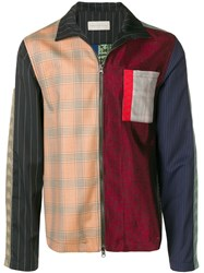Paura Patch Work Fitted Jacket Red