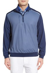 Men's Bobby Jones Grid Print Moisture Wicking Quarter Zip Pullover Summer Navy