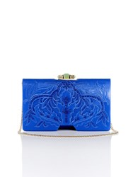 Shanghai Tang Chinese Ornament Applique Bamboo Leather Clutch Royal Blue