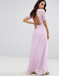 Club L Maxi Dress With Crochet Lace Detail And Cut Out Back 60 Lilac Purple