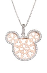 Disney Mickey Mouse Crystal Two Tone Pendant Necklace Crystal Rose Gold