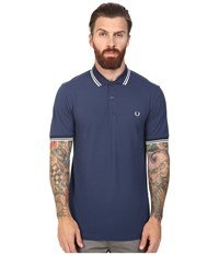 Fred Perry Slim Fit Twin Tipped Polo Service Blue Snow White Men's Short Sleeve Knit