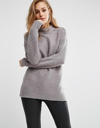 Replay High Neck Fluffy Knit Jumper Stone