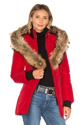 Mackage Adali Coat With Asiatic Raccoon Fur Trim Red