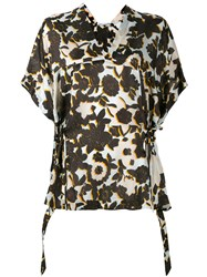 Christian Wijnants Floral Print Top Women Silk 36 Black