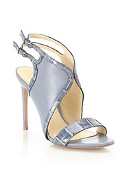 Alexandre Birman Jany Crocodile And Leather Sandals Denim