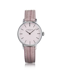 Locman 1960 Silver Stainless Steel Women's Watch W Pink Croco Embossed Leather Strap
