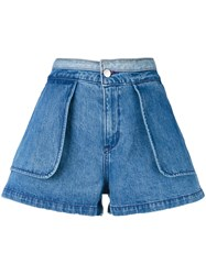 Opening Ceremony Inside Out Shorts Women Cotton 2 Blue