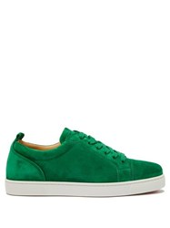 Christian Louboutin Louis Junior Low Top Suede Trainers Green
