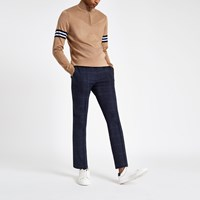 River Island Navy Check Skinny Smart Jogger Trousers