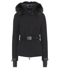 Moncler Bauges Fur Trimmed Ski Jacket Black