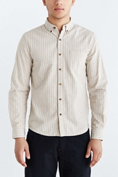 Vanishing Elephant Striped Linen Button Down Shirt White