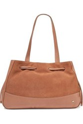 Halston Suede And Textured Leather Tote Tan