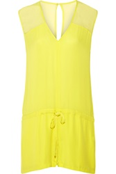 Mason By Michelle Mason Chiffon Paneled Neon Silk Georgette Playsuit Yellow