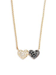 Kc Designs Diamond Black Diamond And 14K Yellow Gold Double Heart Necklace