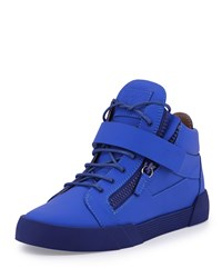 Giuseppe Zanotti Men's Matte Leather Zip And Buckle Mid Top Sneaker Size 42Eu 9D Blue