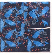 Drakes Drake's Printed Cotton Modal And Cashmere Blend Voile Pocket Square Navy