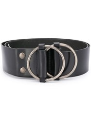 Ann Demeulemeester Double Buckle Belt Black