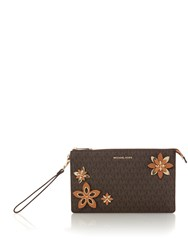 Michael Kors Flowers Daniela Wristlet Clutch Brown