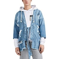 Nsf Distressed Denim Kimono Jacket Blue