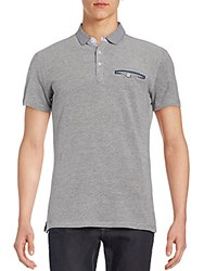 Saks Fifth Avenue Trim Fit Gingham Detailed Polo Shirt Grey